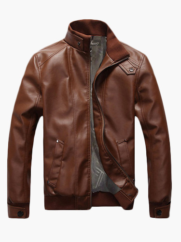Buy Brown Leather Jacket Men Spring Jacket Stand Collar Long Sleeve Short Jacket for $38.99 in Milanoo store