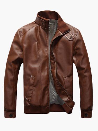 Brown Leather Jacket Men Spring Jacket Stand Collar Long Sleeve Short Jacket