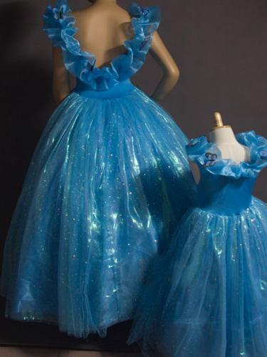 fbe461a1ddcff ... ハロウィンシンデレラドレスキッズ 2019 ブルードレス プリンセス ...
