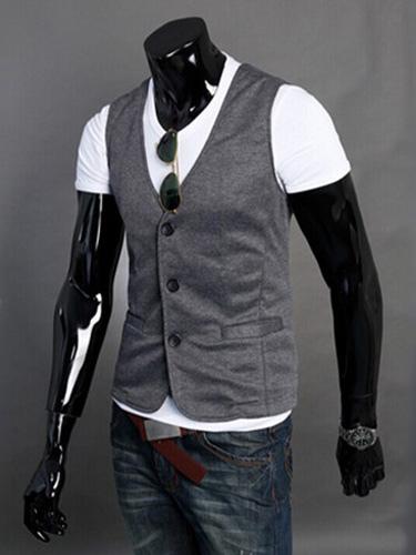 Buy Cotton Blend Handsome Vest for $14.24 in Milanoo store