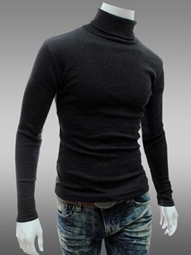 High Collar Long Sleeves Cotton Blend Pullover Knitwear