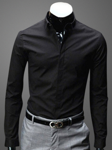 Buy Turndown Collar Long Sleeves Cotton Blend Shirt for $18.04 in Milanoo store
