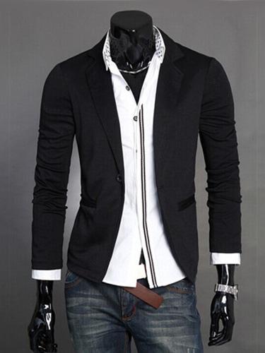 Buy Black Casual Blazer Front Button Blazer For Men Turndown Collar Cotton 2018 Suit Jacket for $14.24 in Milanoo store