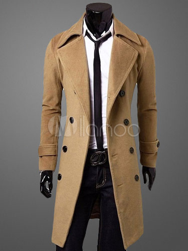 Men Peacoat Brown Winter Trench Coat Turndown Collar Long Sleeve Double Breasted Long Coat