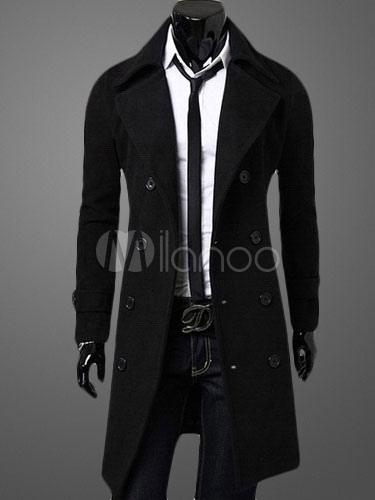 stilvoller herren mantel lang mit zweireiher. Black Bedroom Furniture Sets. Home Design Ideas