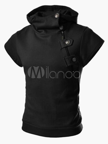 Short Sleeve Sweatshirt Metallic Buckle Zipper Surplice Men Pullover Hoodie
