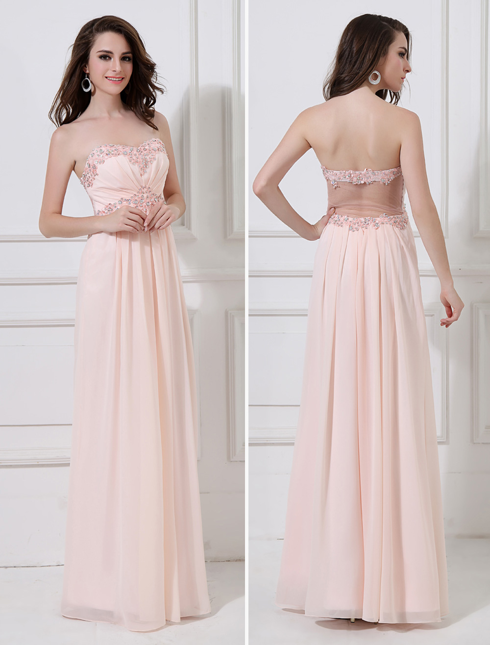 peach evening dress chiffon beaded prom dress strapless. Black Bedroom Furniture Sets. Home Design Ideas