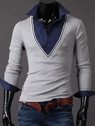 Fake 2-Piece Polo Shirt With V-neck
