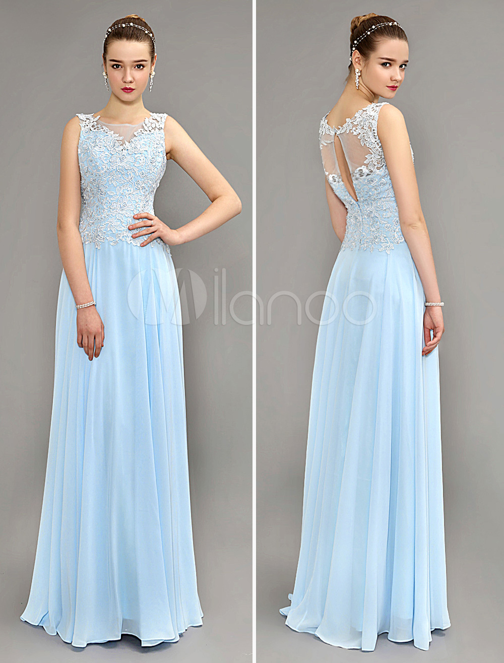 Baby Blue Evening Dress Floor Length Chiffon Party Dress Illusion Neck Floor Length Homecoming Dress With Key Hole Back