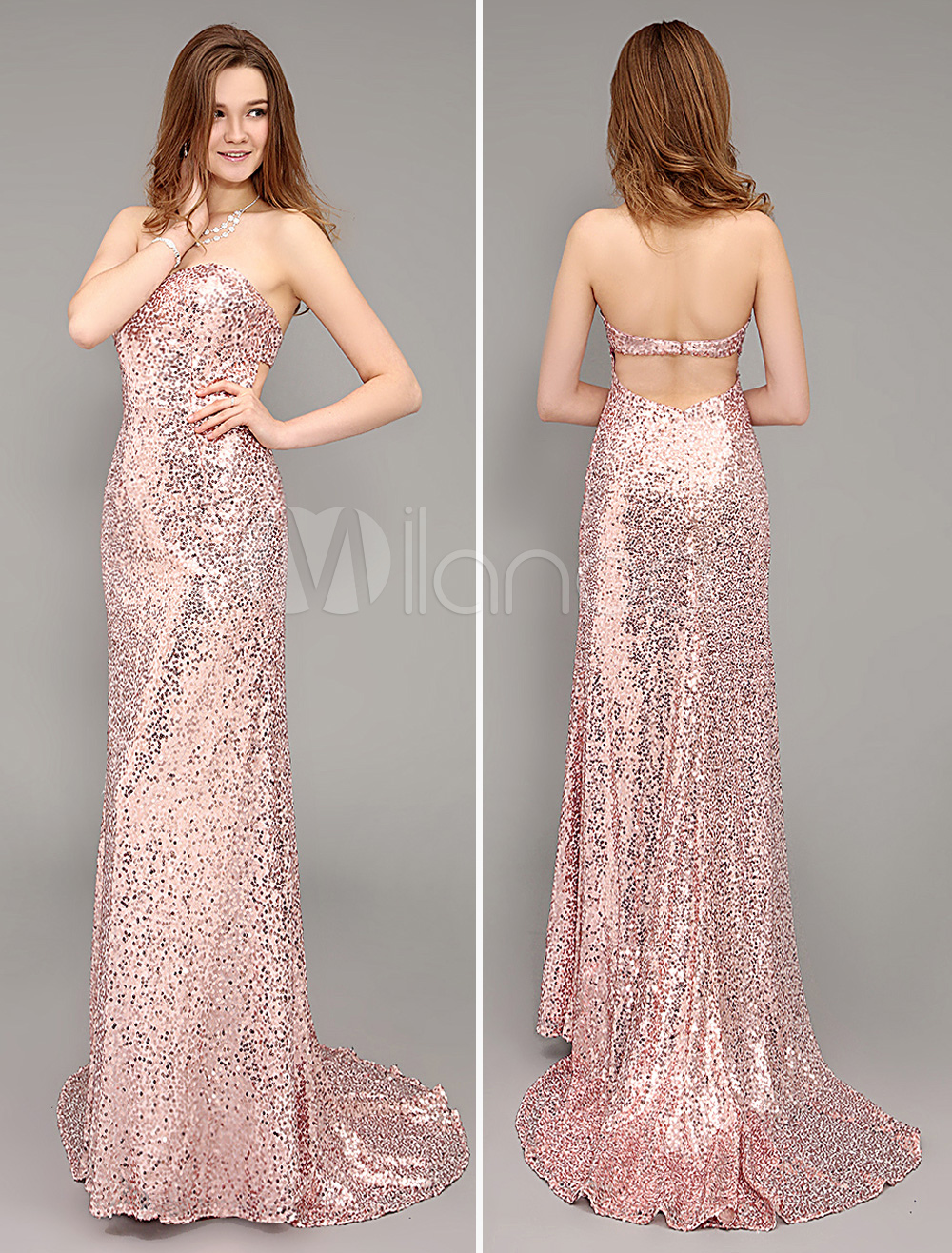 Rose Gold Prom Dresses 2018 Long Peach Sheath Strapless Backless Evening Dress Sequined Sweetheart Party Dress With Brush Train