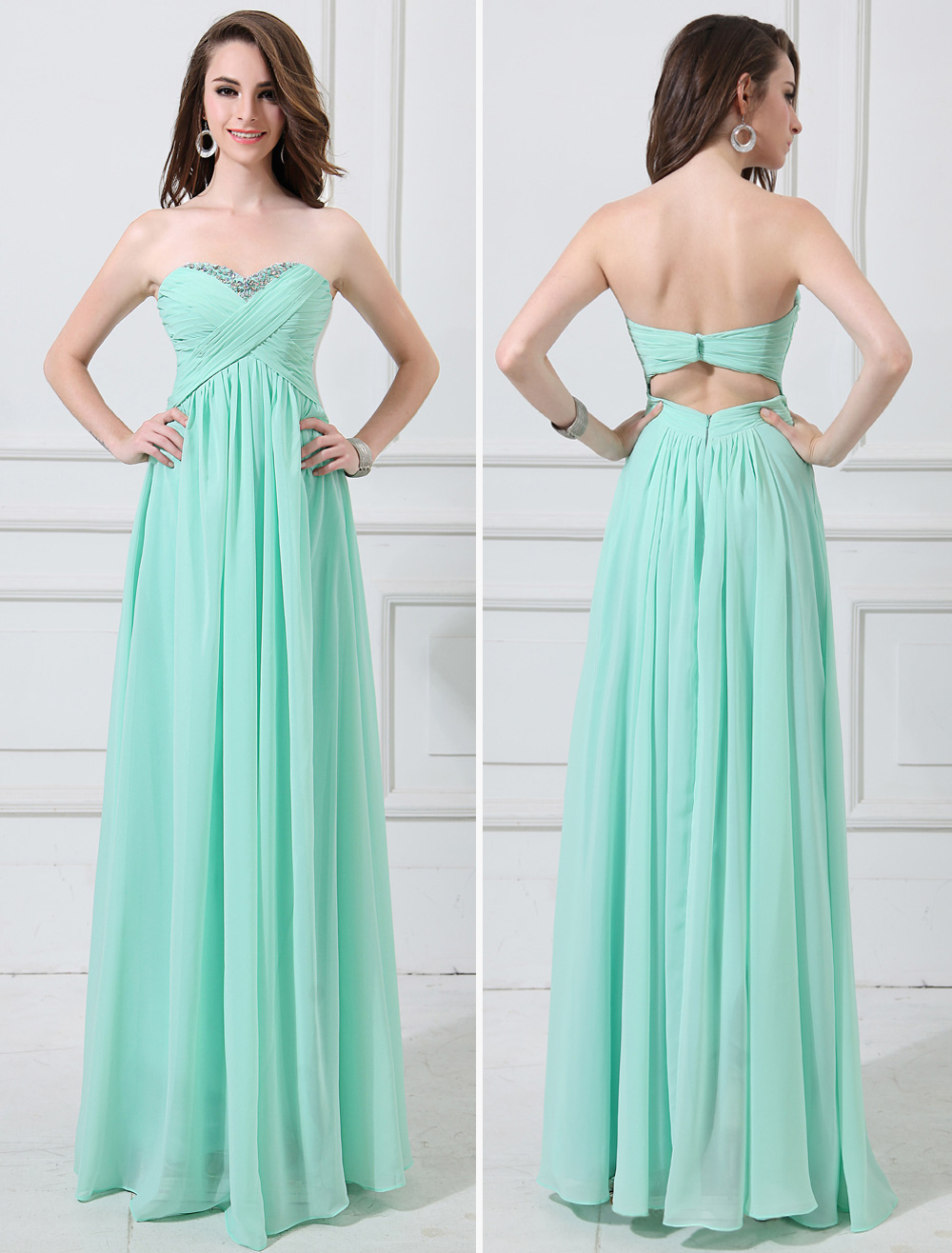 Buy Chiffon Evening Dress Mint Green Sweetheart Beaded Prom Dress Strapless Sleeveless Pleated A Line Floor Length Party Dress for $101.99 in Milanoo store