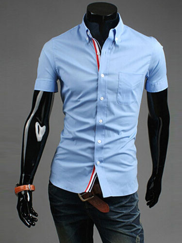 Piping Dress Shirt With Button Down Neck