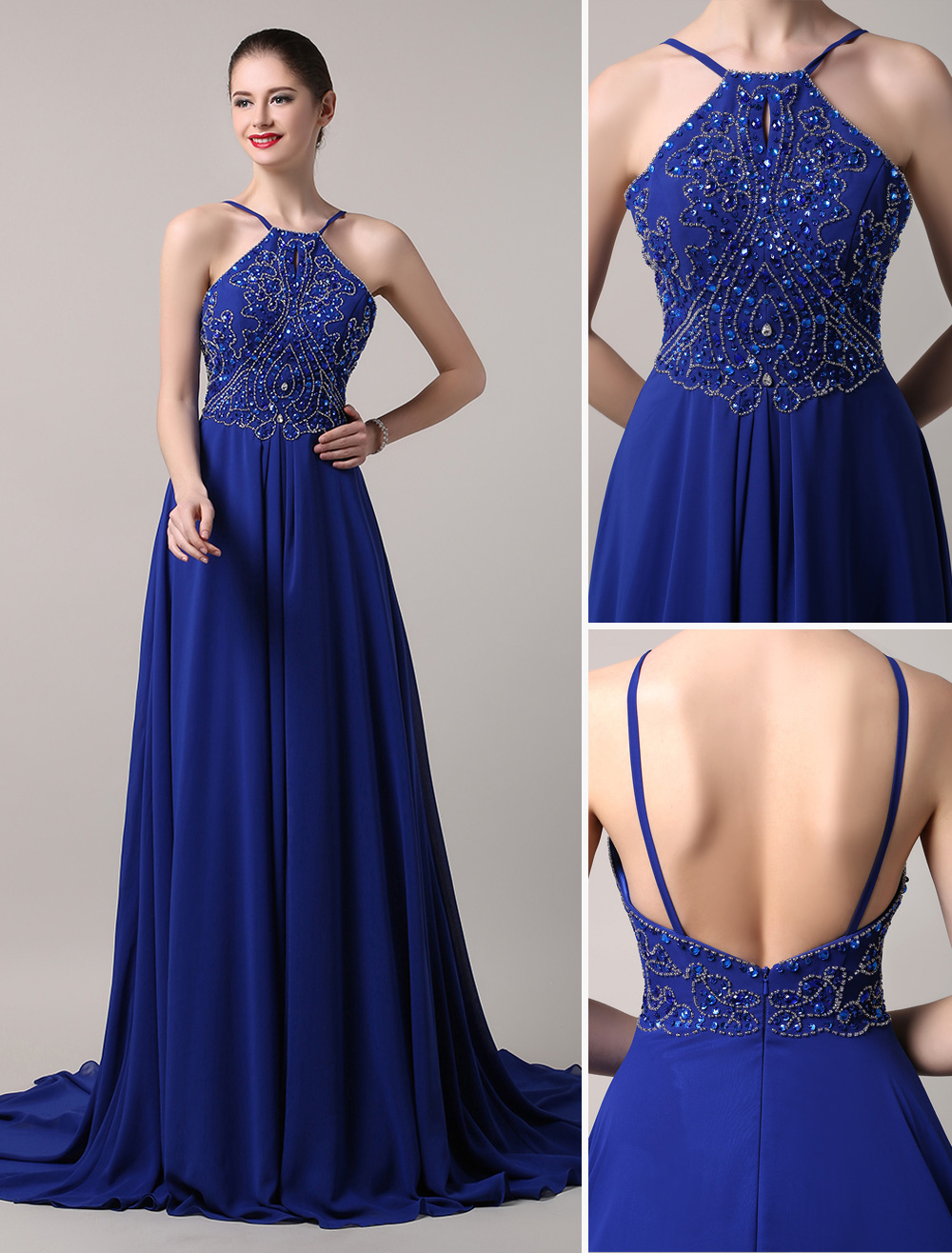 Buy Blue Prom Dress 2018 Long Chiffon Beaded Evening Dress Royal Blue Backless Party Dress With Train for $152.99 in Milanoo store