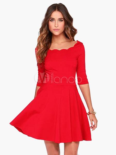 bc034e0f47 ... Red Long Sleeves Scalloped Trim Polyester Lovely Women s Skater Dress  ...