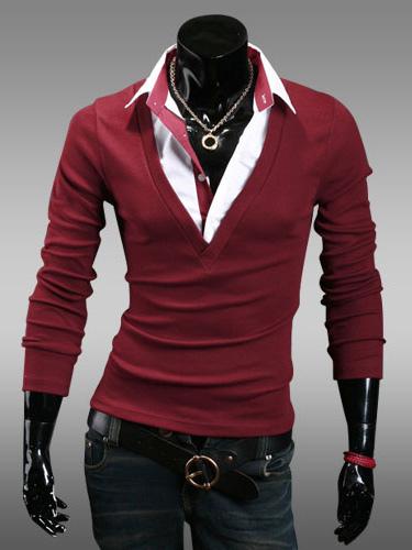 Color Block Cotton Long Sleeves Polo Shirt