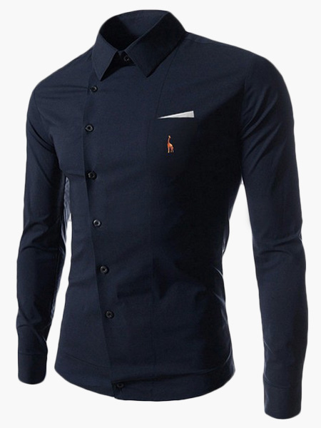 Buy Turndown Collar Long Sleeves Cotton Casual Shirt for $19.79 in Milanoo store
