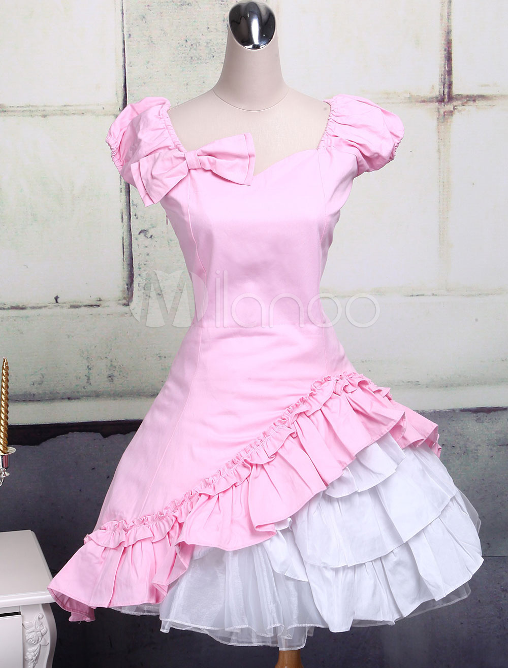 Buy Classic Cotton Short Sleeves Ruffle Lolita Dress for $75.59 in Milanoo store
