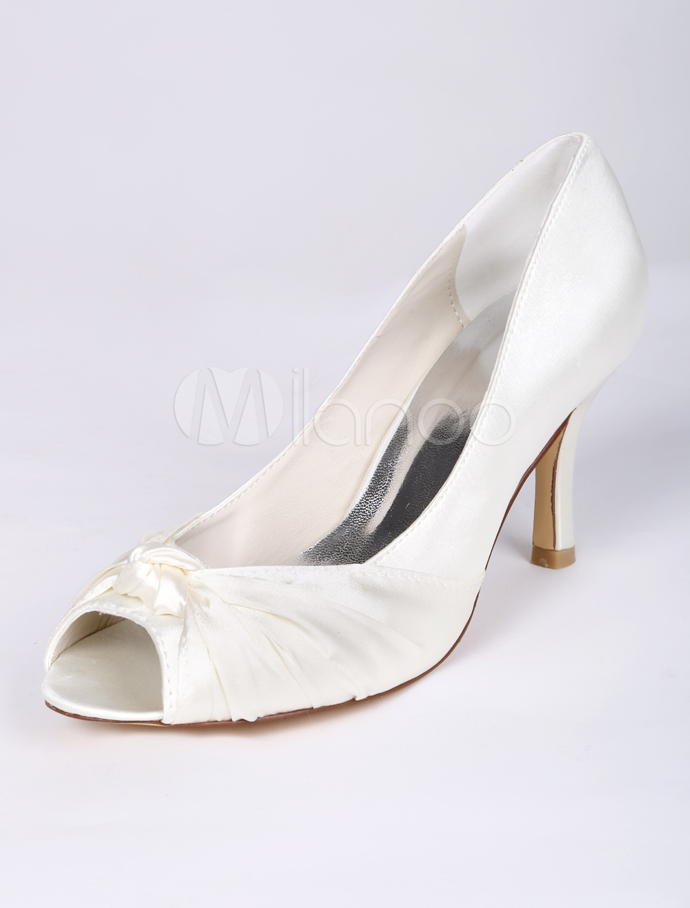 Beautiful Peep Toe Knotted Bridal Shoes