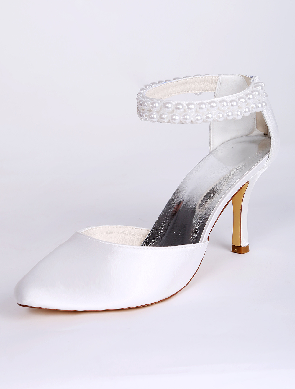 69745a51baa White Wedding Shoes Satin Pointed Toe Pearls Detail Ankle Strap Bridal Shoes  Satin High Heels- ...