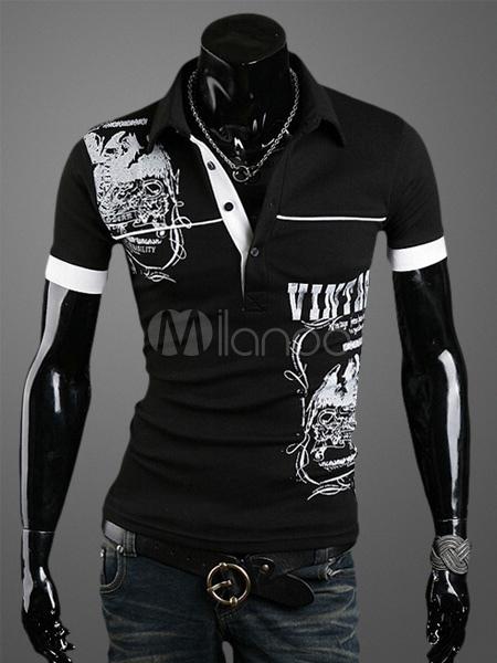 Men Polo Shirt Graphic Print Regular Fit Short Sleeve T Shirt