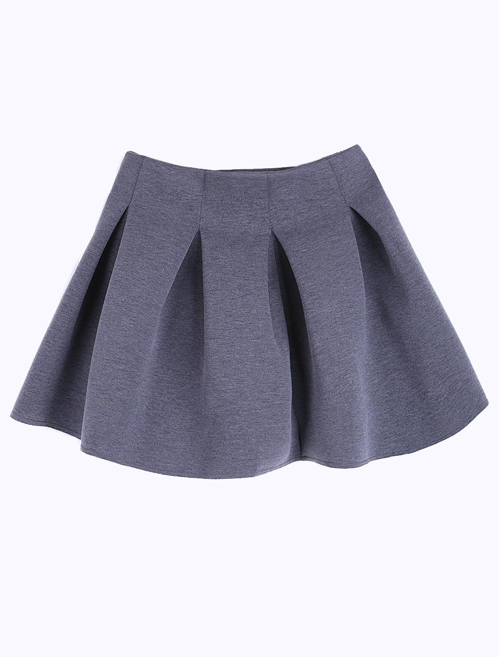 Gray High-waisted Pleated & Flared Skirt - Milanoo.com