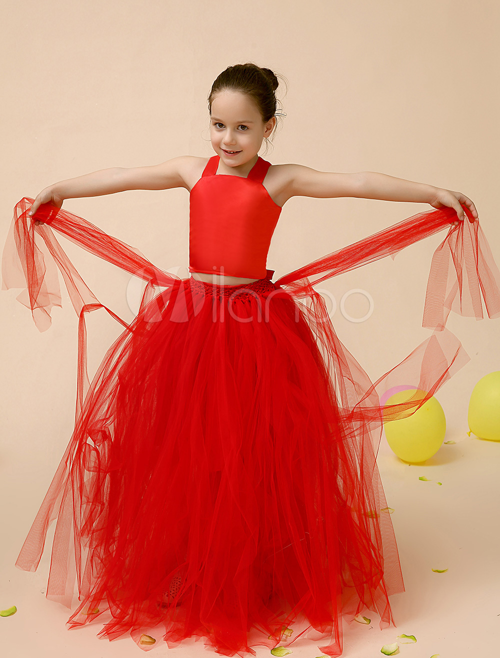 Red Tiered Tulle Flower Girl Dress Criss Cross Straps Dress