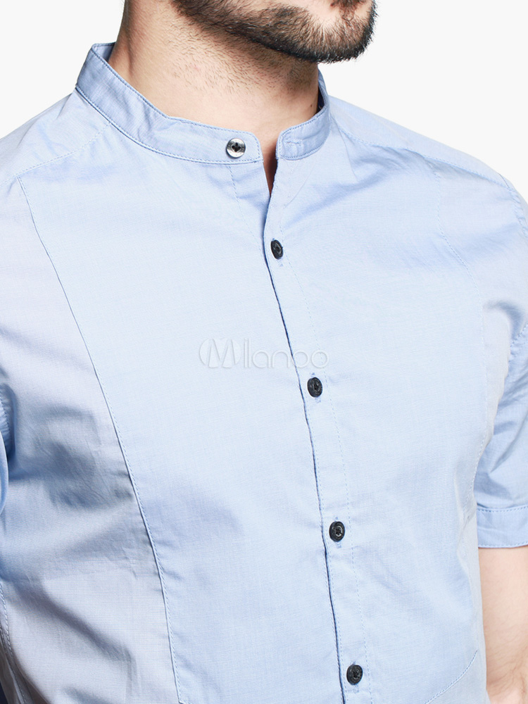 Light Sky Blue Cotton Short Sleeves Stand Collar Casual