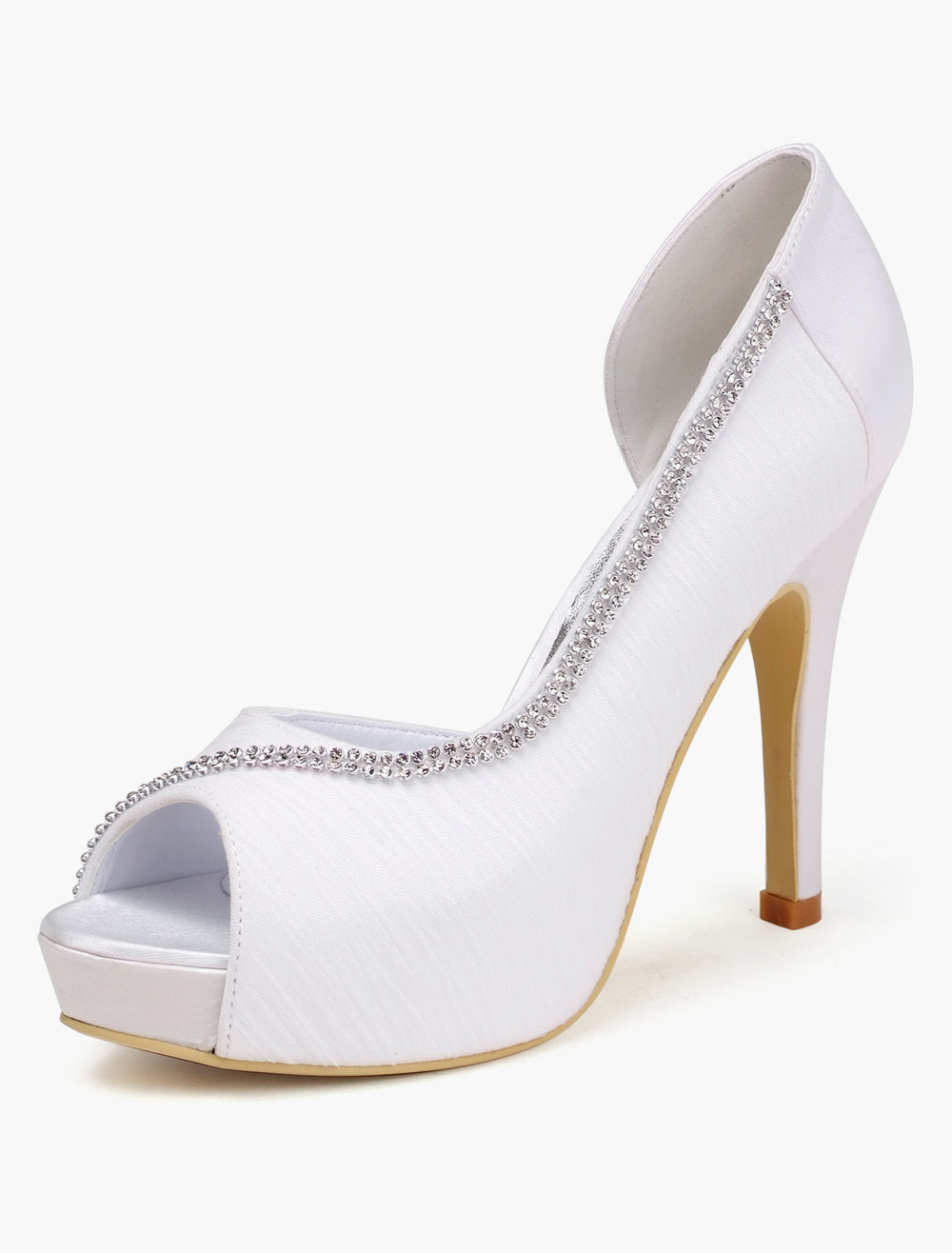 Buy White Rhinestones Peep Toe Silk And Satin Evening and Bride's Sandals for $56.99 in Milanoo store