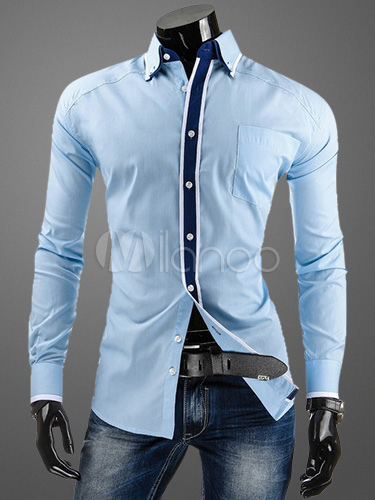 Buy Cotton Shaping Long Sleeves Turndown Collar Casual Shirt for $20.39 in Milanoo store