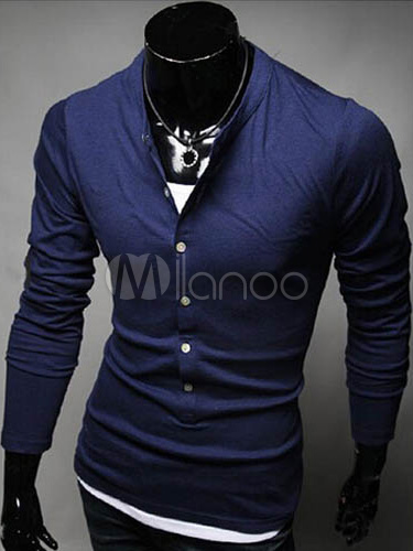 Buy Long Sleeves Stand Collar Cotton Blend Tee Shirt for $18.99 in Milanoo store