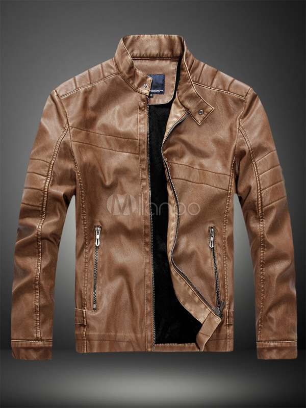 Buy Brown Leather Jacket Men Jacket Stand Collar Long Sleeve Zip Up Motorcycle Jacket for $48.74 in Milanoo store