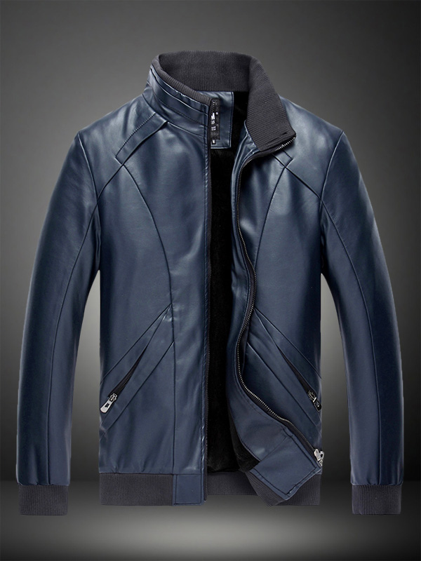 Stand Collar Leather Jacket in Regular Fit