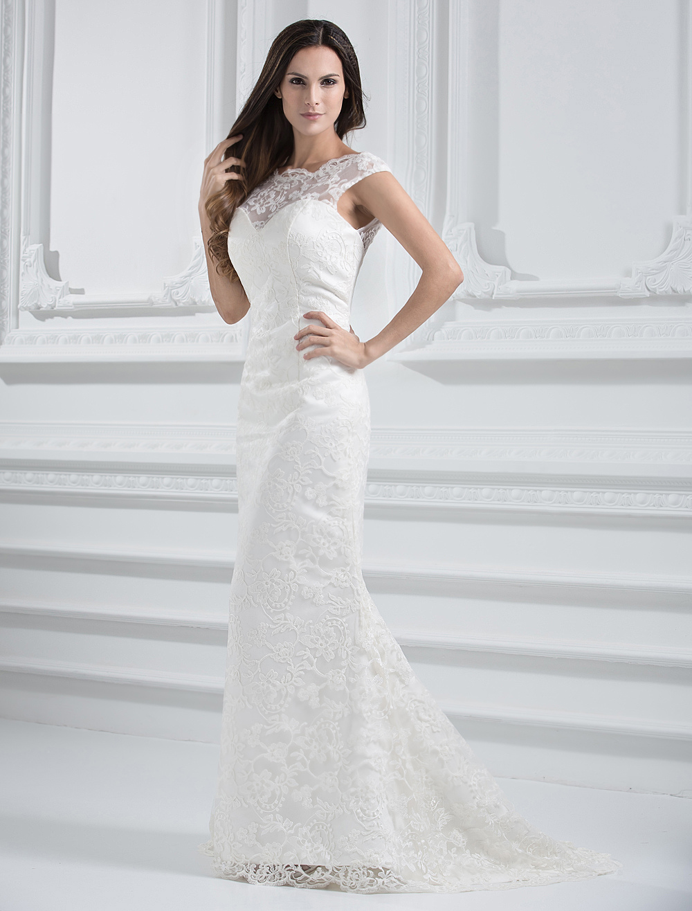 Ivory Wedding Dress Off-The-Shoulder Mermaid Illusion Backless Lace Wedding Gown