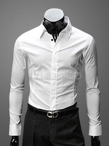 l'ultimo 4119f 107b7 Camicia da Uomo Elegante Casual Maniche Lunghe Cotone Misto Autunno