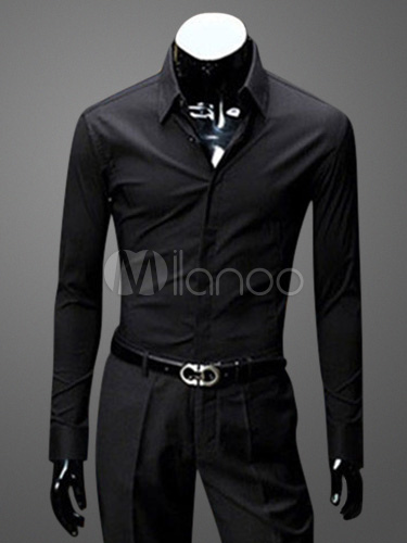 Buy Cotton Blend Dress Shirt with Turndown Collar Long Sleeves for $18.04 in Milanoo store