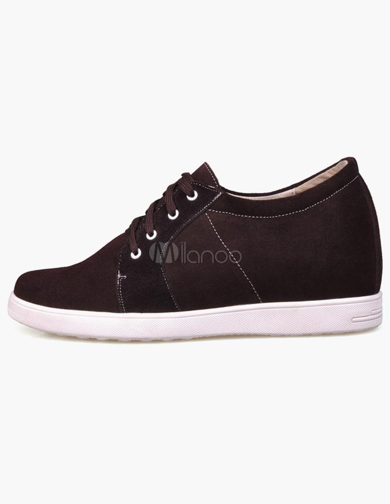 ... Fascinantes chaussures ascenseur de rehaussement à lacets et bout amande  en cuir suédé marron foncé- ...