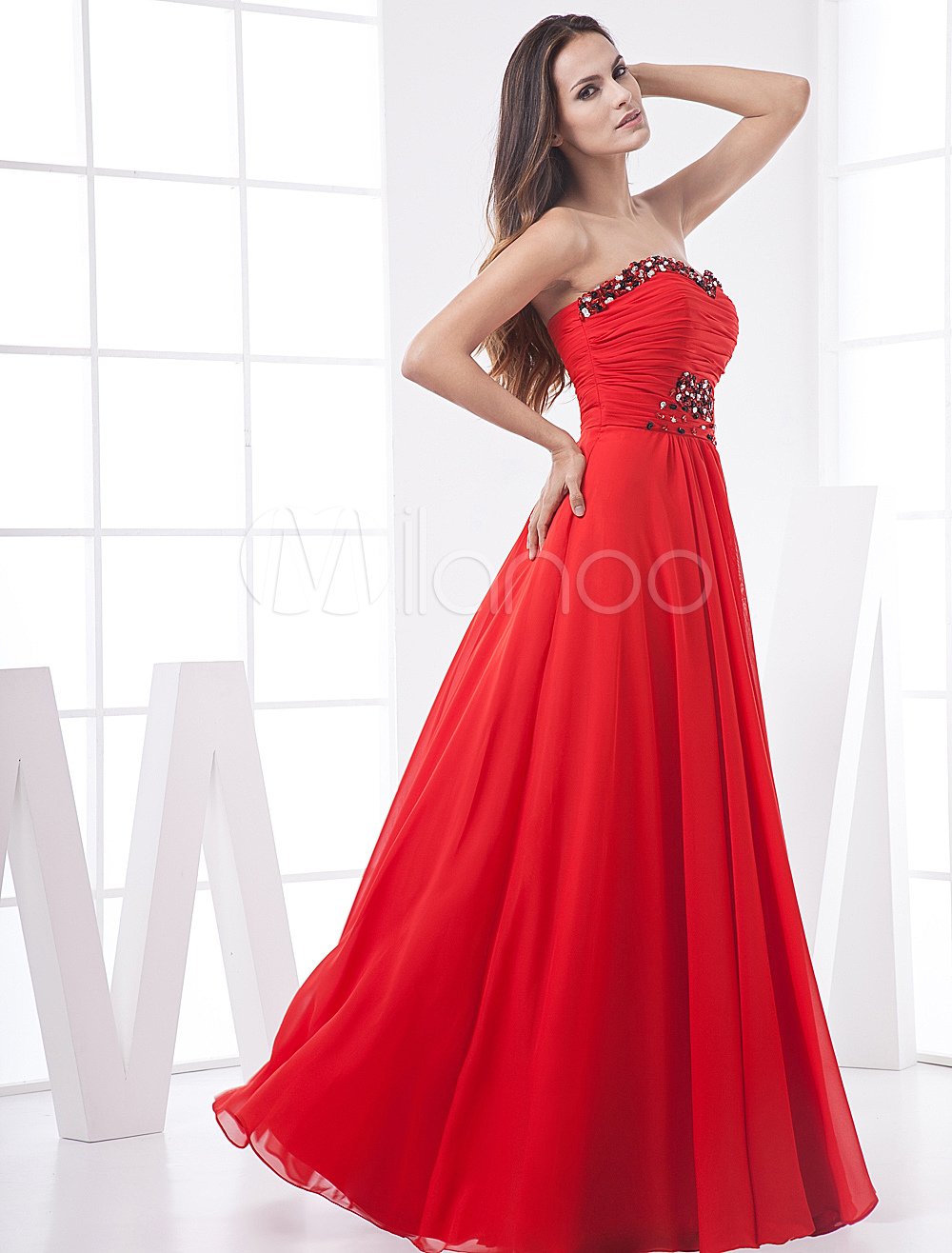 Red Floor-Length Evening Dress with Sexy Empire Waist Pleated Strapless