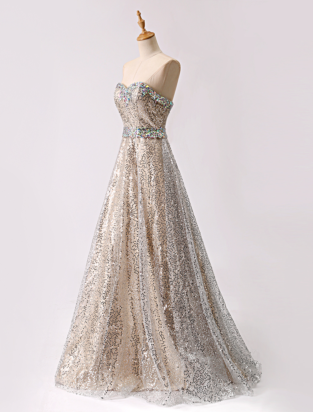 Glitter Long Champagne Sweetheart Sequin Ball Prom Dress