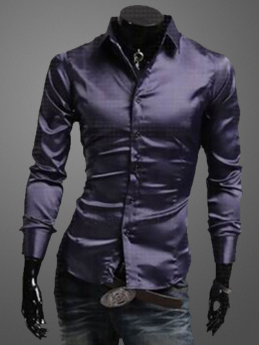 Turndown Collar Long Sleeves Cotton Blend Shirt