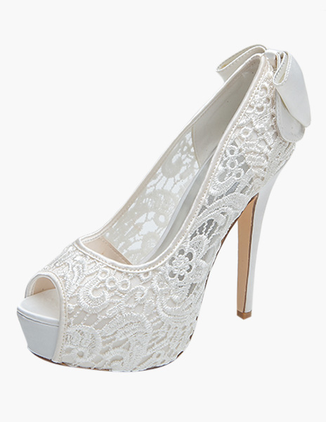 Lace Peep Toe Slip-On Embroidered Evening and Bridal Platforms