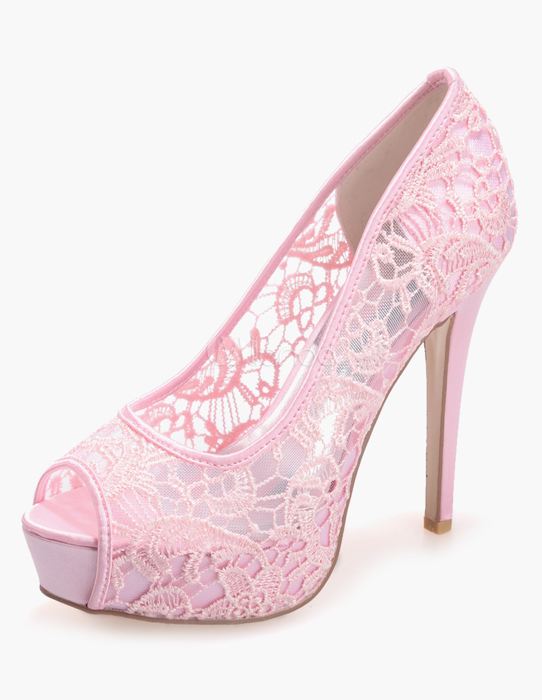 Luxury White Lace Peep Toe Evening and Bride's Platforms