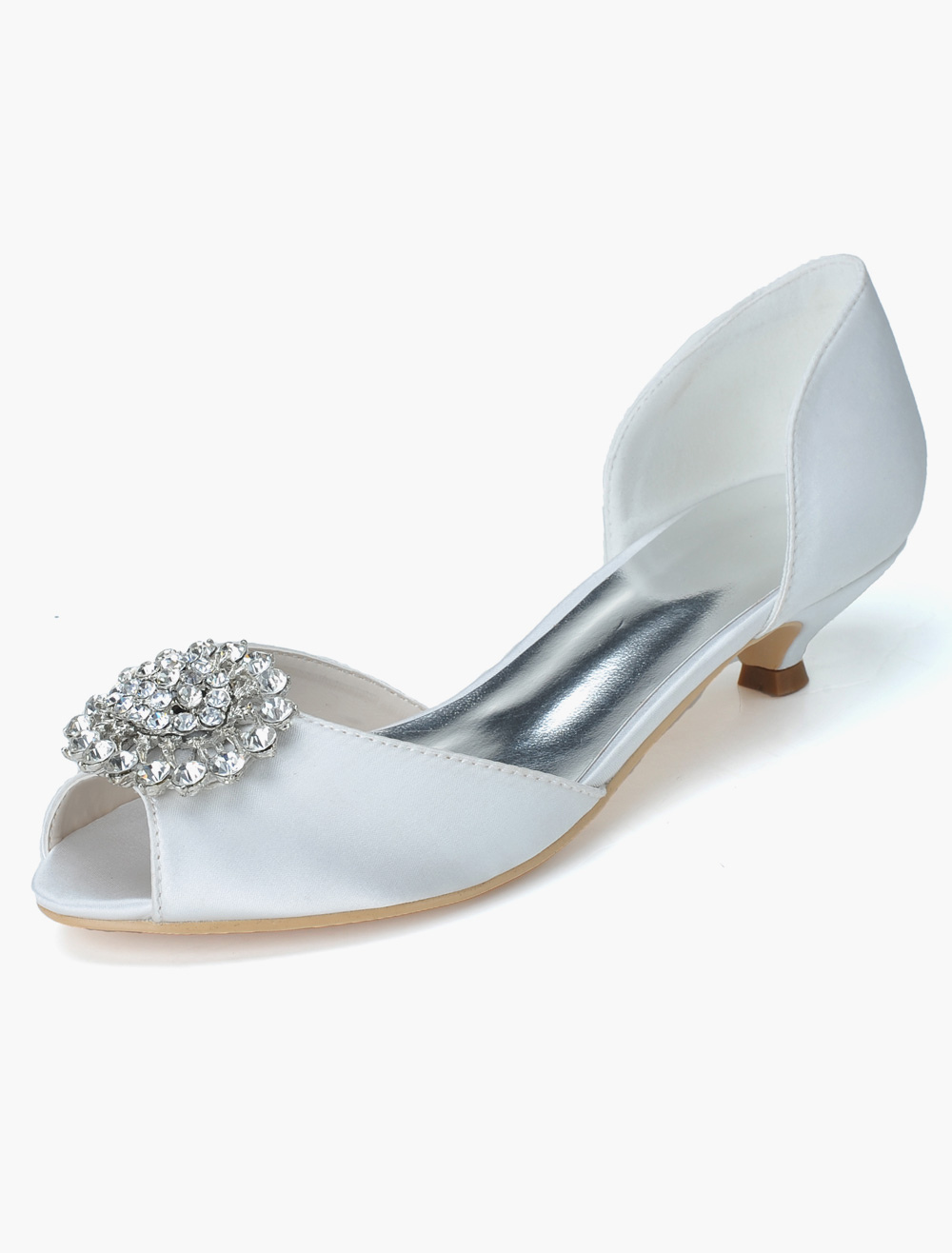 Rhinestones Peep Toe Satin Evening and Bridal Sandals