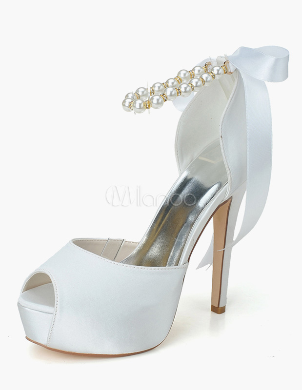 Buy White Satin Peep Toe Ankle Strap Pearls Evening and Bride's Platforms for $51.29 in Milanoo store