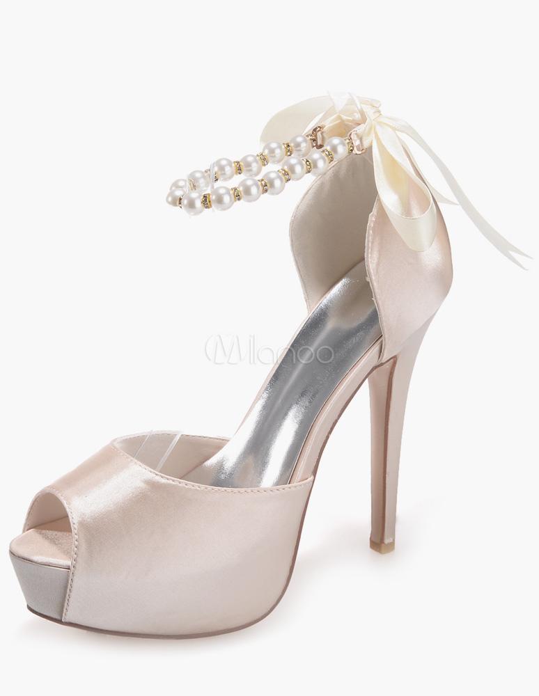 ... Chaussures plateforme de mariage en satin blanc avec perles-No.8