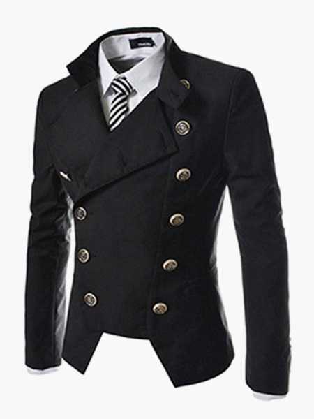 Men Blazer Casual Double Breasted Stand Collar Blazer For Men