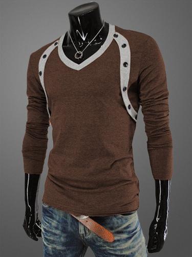 Long Sleeves V-Neck Cotton Daily Tee Shirt