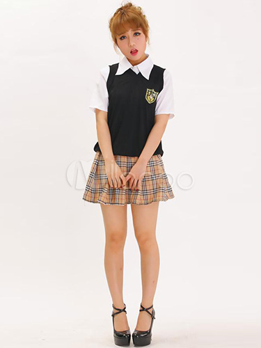 Buy Halloween Nerd Costume Multi Color Womens Sexy School Girl Costume Halloween for $26.99 in Milanoo store