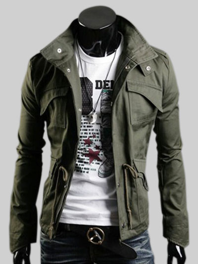 Men Military Jacket Hunter Green Stand Collar Long Sleeve Casual Jacket