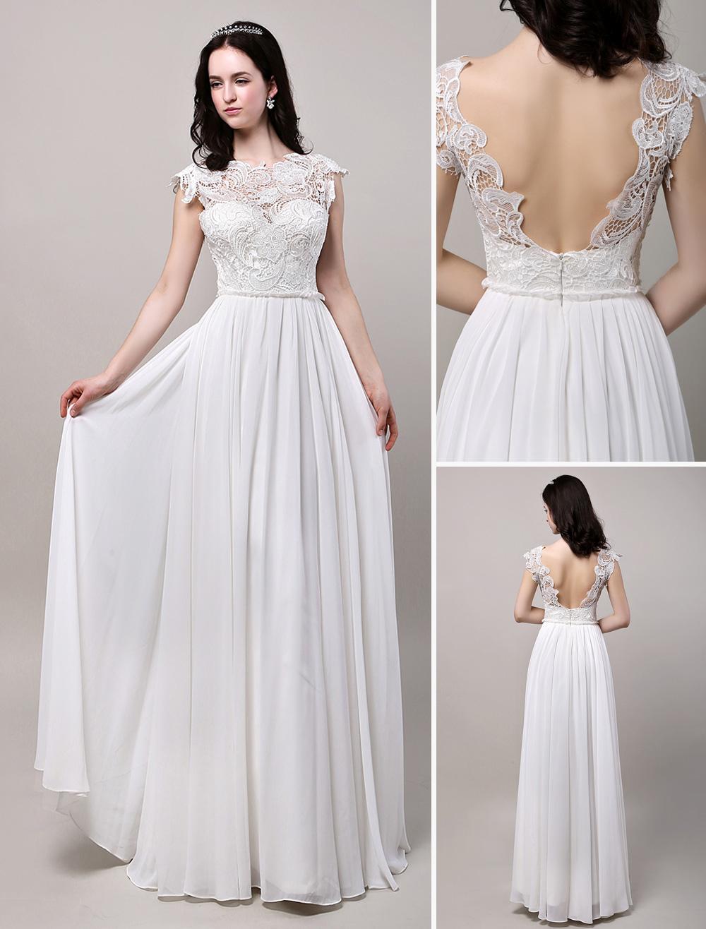 Backless Lace Chiffon Beach Boho Bridal Gown