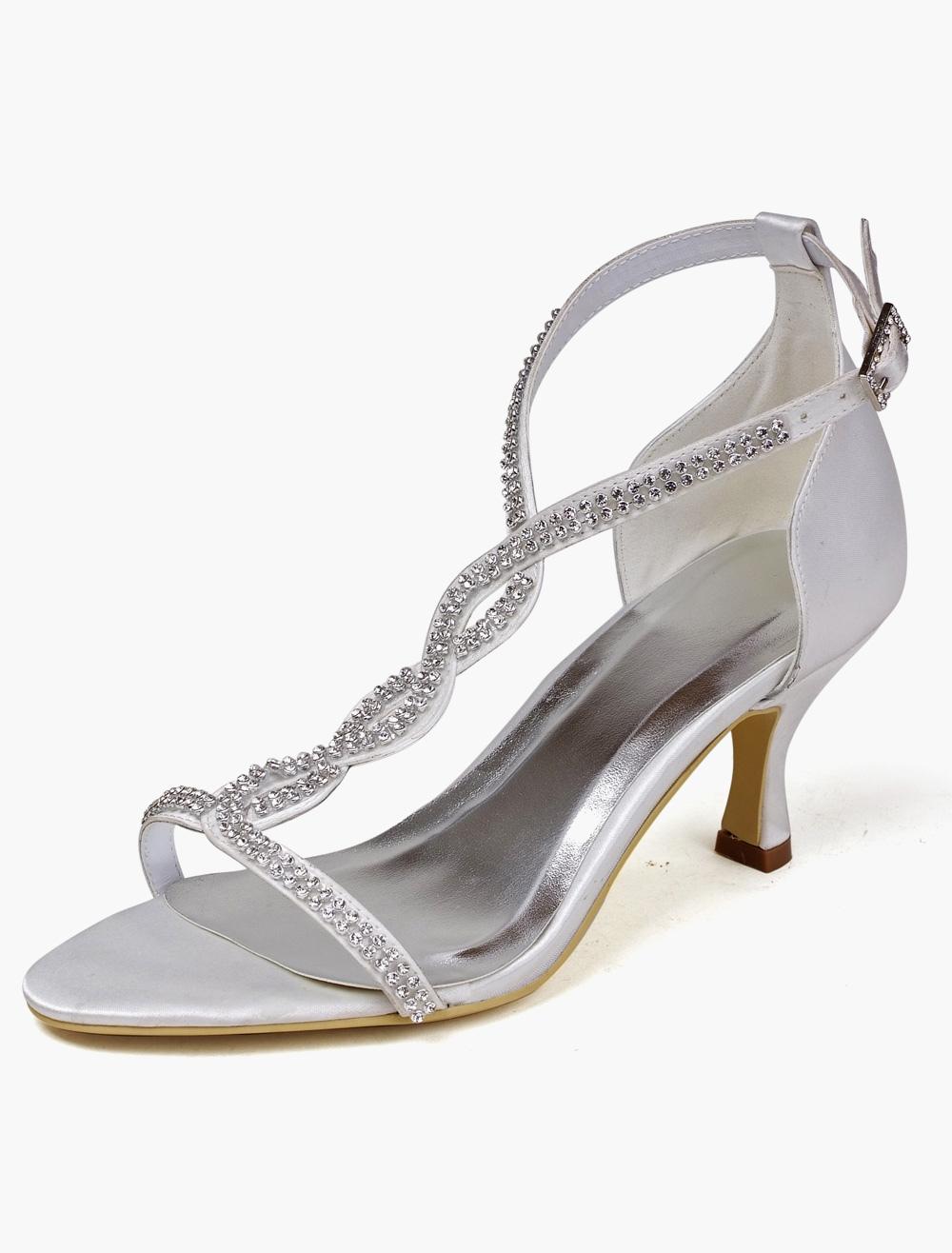 3fc76da21 ... Beautiful White Rhinestone Open Toe Silk And Satin Bridal Pumps-No.9.  12. 30%OFF. Color:White